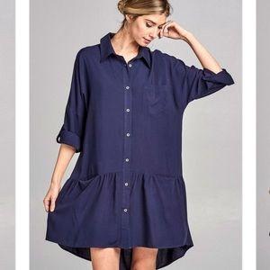 Button down blue 3/4 sleeves flare shirt dress